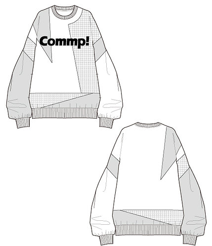 material switching print pullover