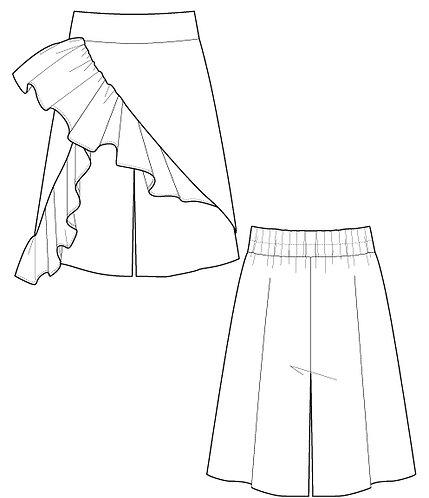 Ruffled culottes pants