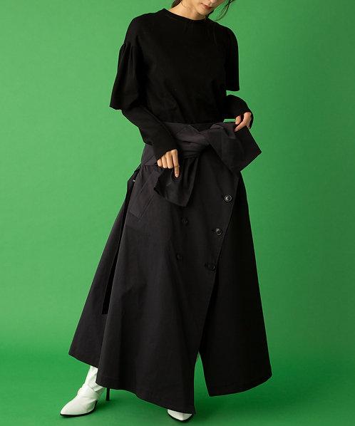 Chino×Melton trench skirt