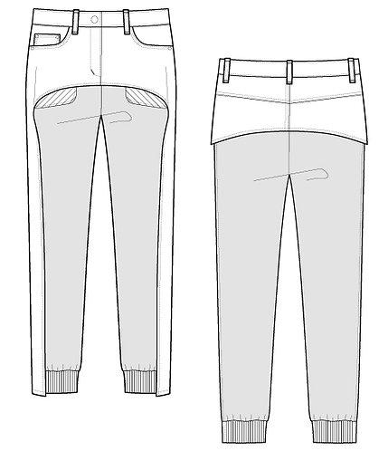 Denim ×Sweat pants