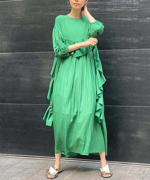Airy gather flare maxi dress