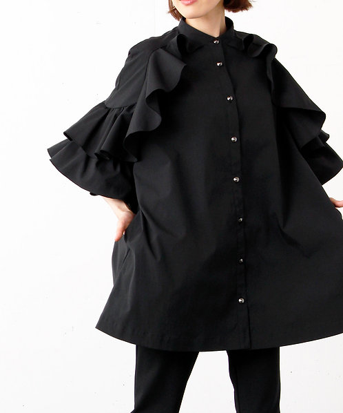 Enamel Switch Standcolor Blouse