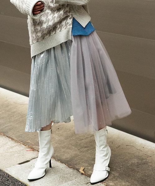 Denim mix pleated skirt