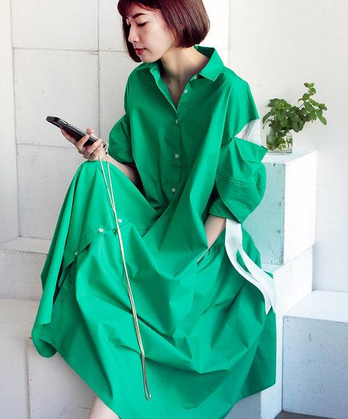 Drawstring sleeve cotton voile dress