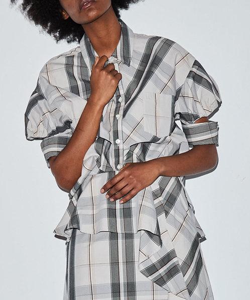 Glen check puff sleeve shirt blouse