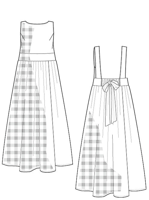 Gingham check overalls dress