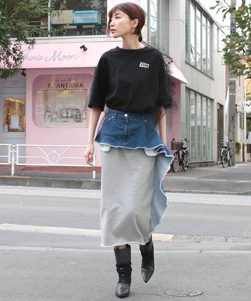 Denim ×Sweat skirt