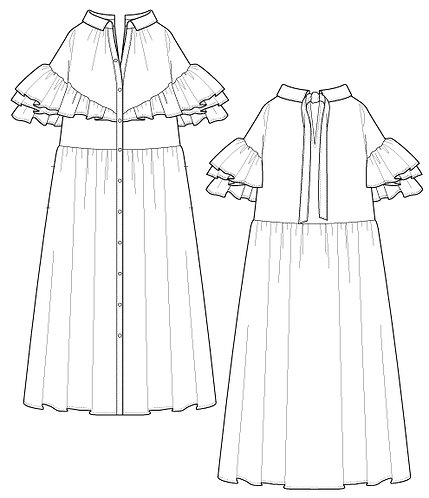 Frill switching denim dress