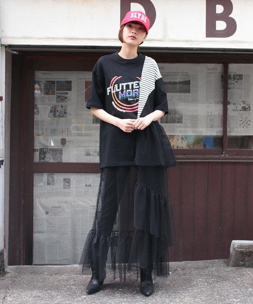 Tulle layered  print dress