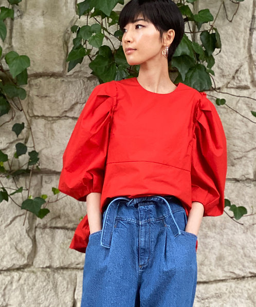 Typewriter power shoulder blouse