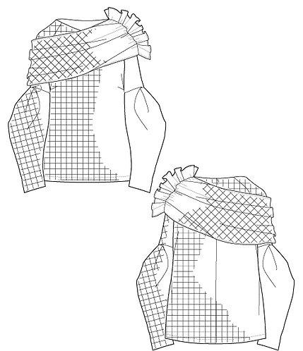 Check drape blouse