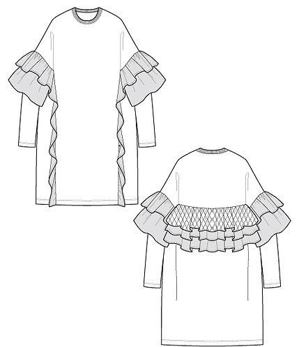 Frilled sweat dress
