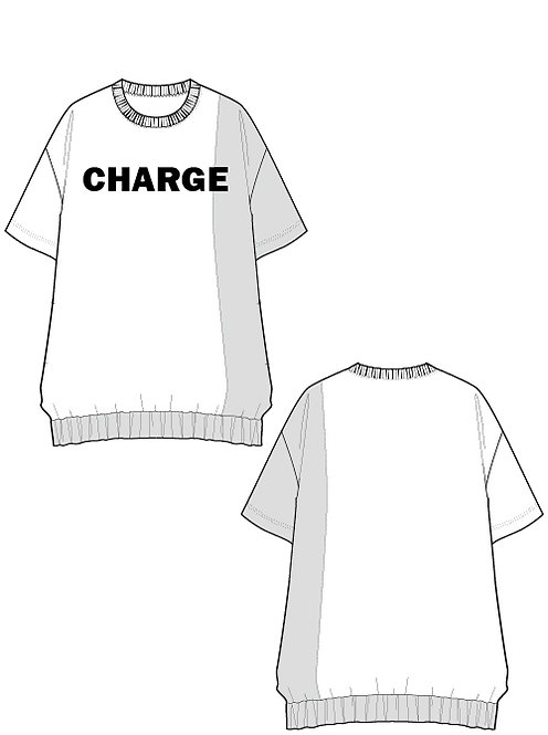 Shiny switching print T-shirt CHARGE