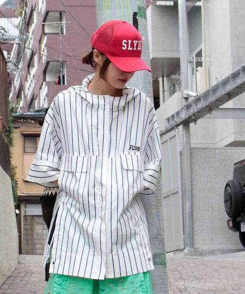 Hoody stripe shirt blouson