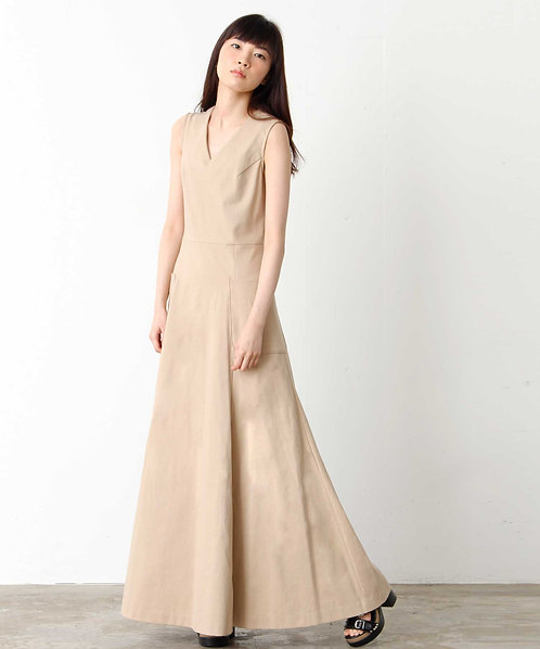 Sleeveless A-line maxi length dress