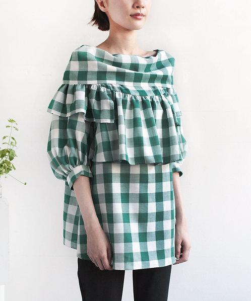 Gingham check Peasant blouse