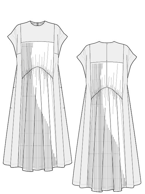 Import pleated Switching dress