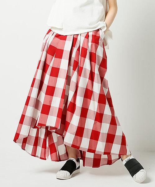 Gingham check flare maxi skirt