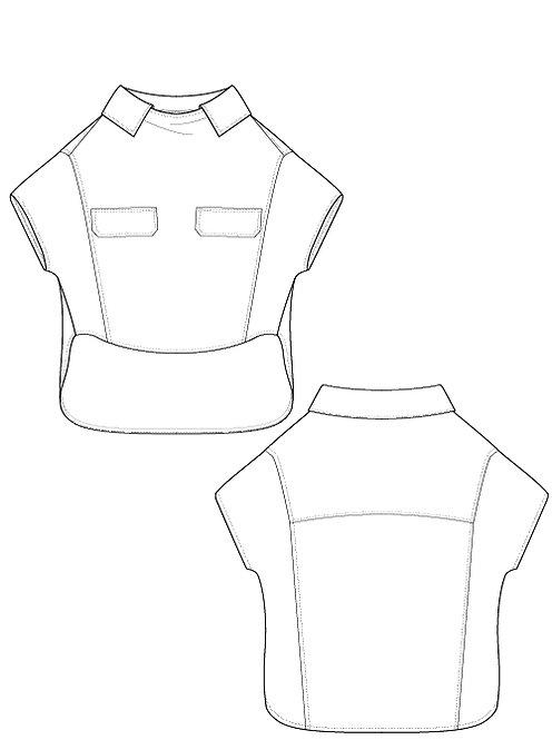 Cotton Links Flap blouse