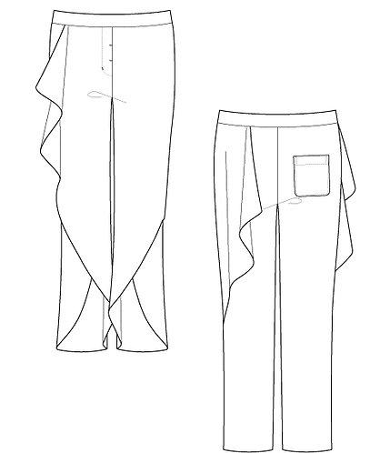 Side frill pants