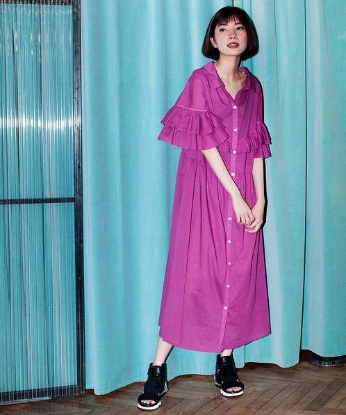 Frill switching cotton voile dress