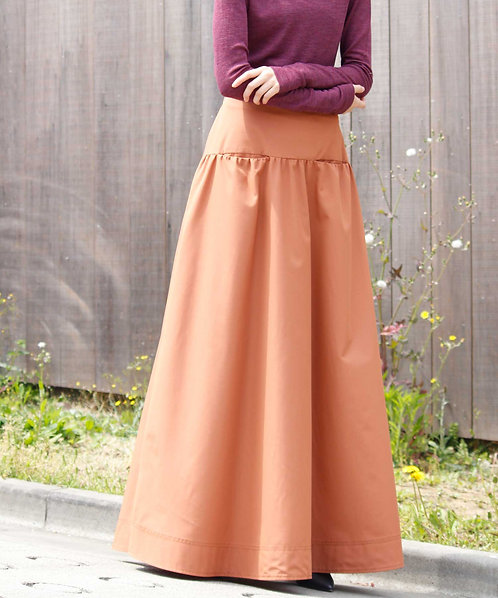 Gather flared long skirt