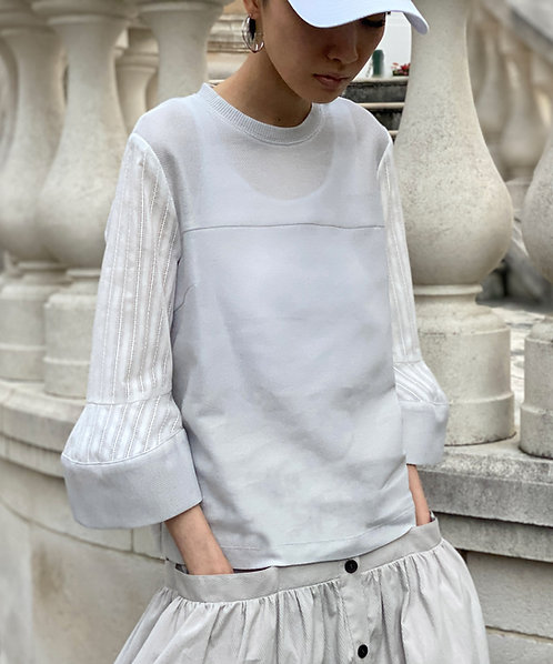 Striped lace sleeve pullover