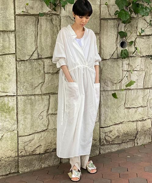 Cotton linen voile wrap dress