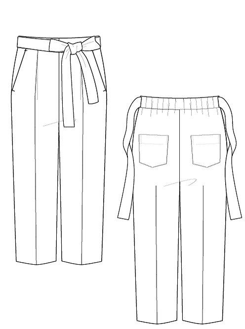 Cotton linen Waist ribbon pants