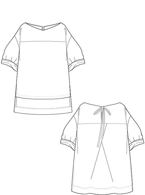 Cotton linen Volume sleeve blouse