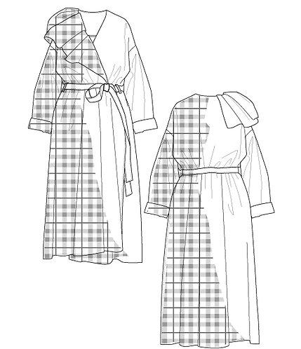 Big check dress coat