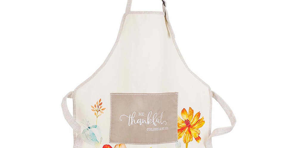 Be Thankful Floral Cotton Apron