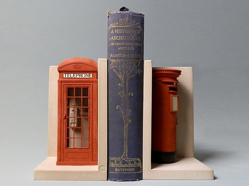 Telephone Box and Post Box Bookends