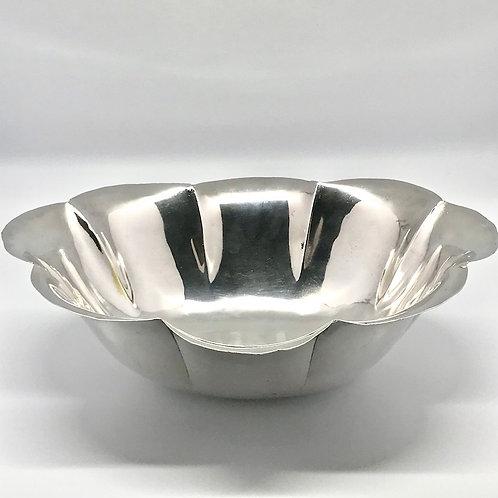 Saladier corolle, vintage en métal argenté