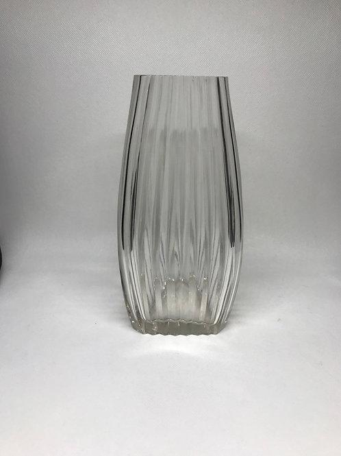 Vase vintage en verre à stries
