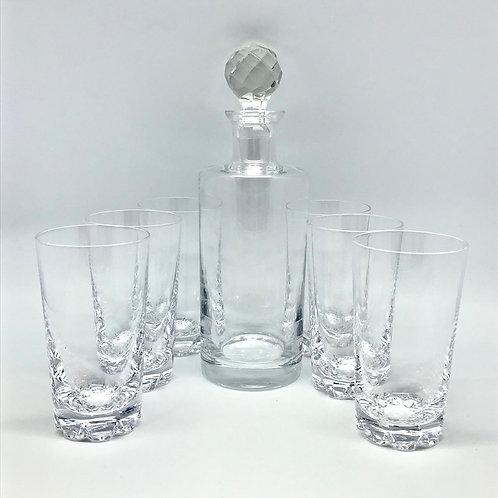 Carafe et verres à whisky vintage en cristal de Sèvres