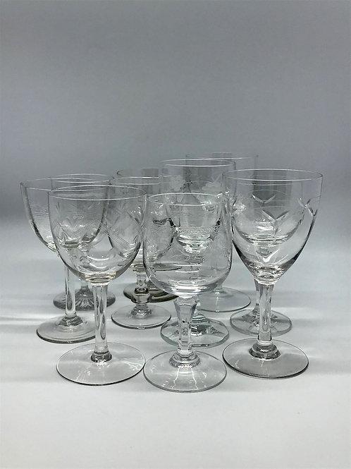 Verres à vin vintage dépareillés, verre et cristal