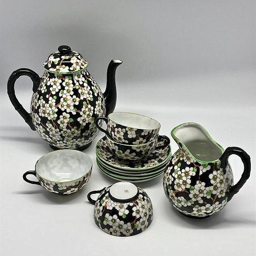 """Service à thé vintage à motif """"fleurs de pommier"""""""