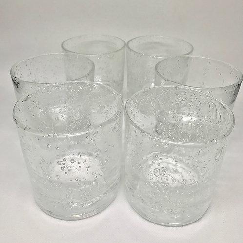 Verres à eau vintage en verre soufflé estampillés « Riom »