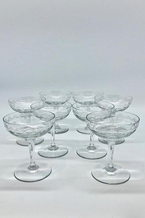 Coupes à Champagne vintage en verre taillé