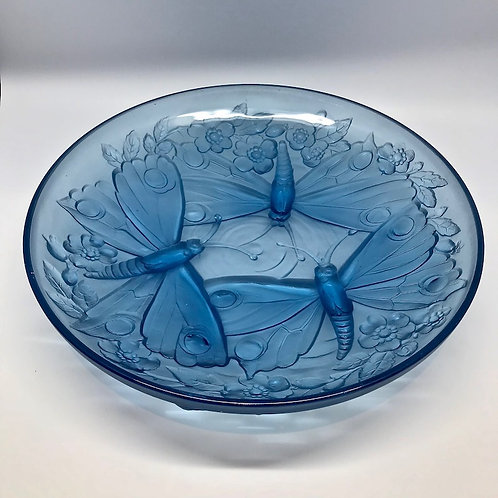 Grande coupe bleu décor papillons Verlys