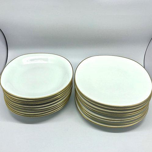 Assiettes vintage Raynaud & Cie blanc et or