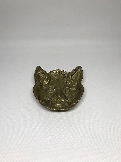 Cendrier tête de chat en laiton