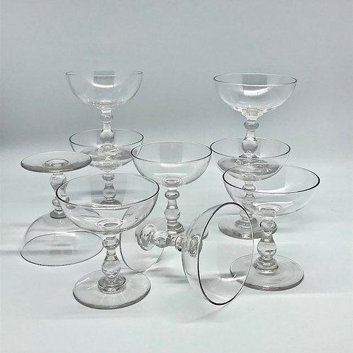 Coupes à champagne anciennes en cristal