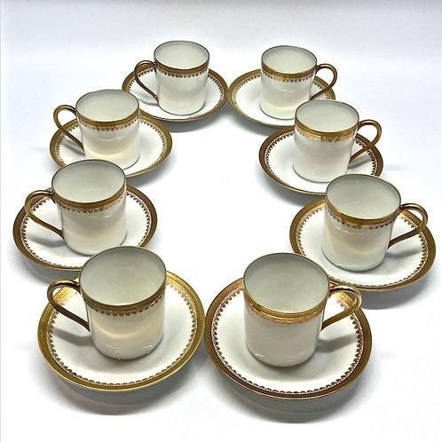 Tasses à café Limoges Unic blanc et or
