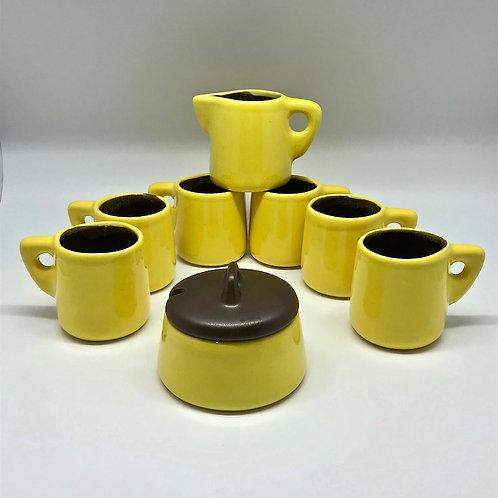 Service à café vintage, jaune