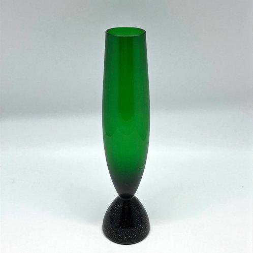 Soliflore vintage vert en verre soufflé
