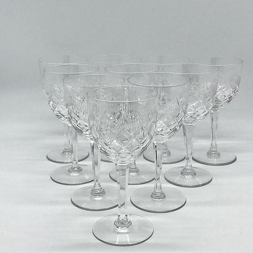 Verres à vin anciens en cristal taillé