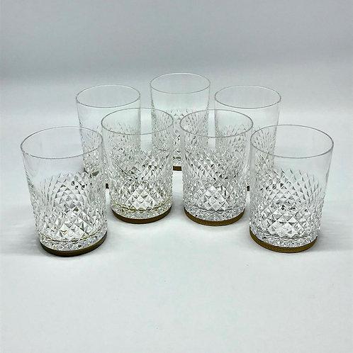 Verres à whisky à motifs de pointes de diamant monture en laiton