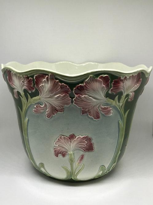 Cache-pot vintage à décor d'Iris style Art Nouveau